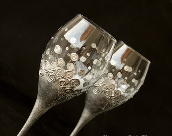 Wine Glasses, Wedding Glasses, Silver Glasses, Hand Painted Set of 2