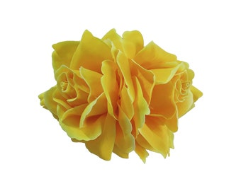 Double Yellow Rose Flower Hair Clip