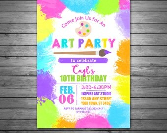 Art Party Birthday Invitations, Printable File, Art Party Birthday, Girls Painting Birthday, Painting Party