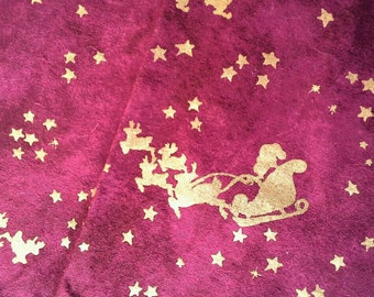 Santa's Sleigh and Stars in Gold on Deep Red Background, Cotton Fabric 1 3/4 Yards  X0498