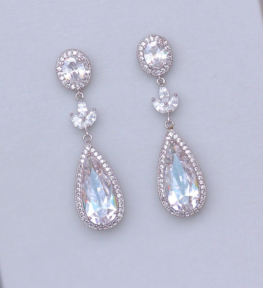 Chandelier Teardrop Bridal Earrings Crystal Earrings Big
