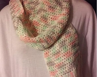 Peach, Mint Green, Gray  and Cream Crocheted Scarf