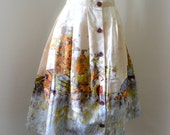 1950s 60s Western border print novelty skirt / 50s scenic print skirt - L