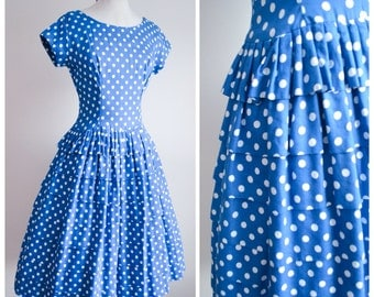 1950s Blue white polka dot cotton tiered full skirt dress / 50s spotty lace edge summer dress - S