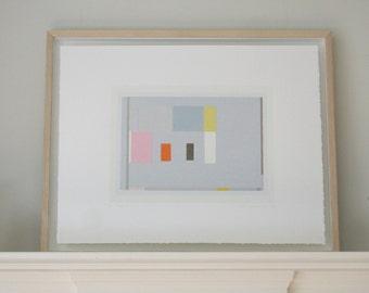 Mid Century Modern, Geometric, abstract minimal original screenprint in pretty colours. Modern, simple art by Emma Lawrenson