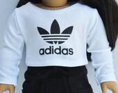 18 inch Doll Clothes - Graphic Tee - adidas, White Crop Top, Tshirt, AG Doll, Custom
