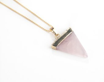 Rose Quartz Triangle Necklace-rose quartz pendant, triangle necklace, layering necklace,  gold necklace, pendant