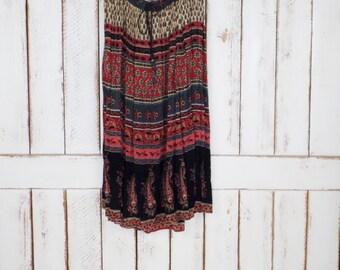 Vintage sheer red/black batik floral paisley Indian print boho crinkle maxi skirt/long gypsy festival skirt/drawstring skirt/3X/plus size
