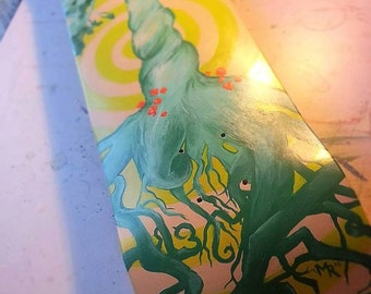 Neon Tree Skateboard Deck Painting, Surreal, Psychedelic Original Artwork, Statement Wall Art, Home Decor