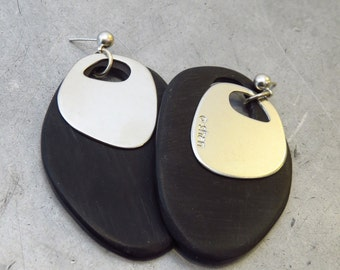 24K white gold plated earrings with black perspex