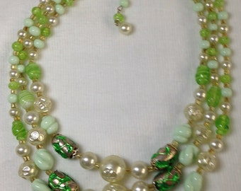 Three Strand Green Glass Necklace - Vintage - Japan