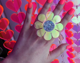 Flower power holographic ring (made to order)