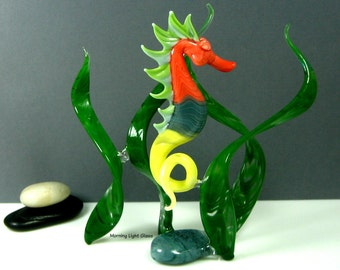 Art Glass Seahorse Sculpture - Dancing Green Seaweed - Ocean Inspired Home Decor