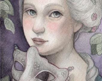 Night of the Maquerade...Original Art...5x7 Mixed Media