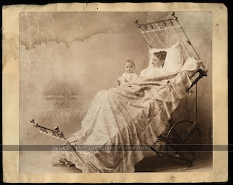 Very Rare Vintage Photo Woman in Unusual Medical Invention Hospital / Maternity Bed!