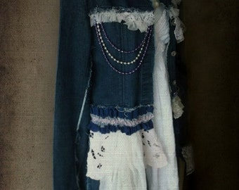Boho Shabby Denim Coat. French Shabby Bohemian Chic. Refashioned  Long Jean Coat. Denim Ruffles.Lace Beads.Embroidery Lace Cuffs. Size Small