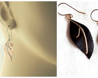 Magnolia Leaves, Drop Earrings, Fall Leaves, Copper, Autumn Leaves, Forged Earrings, Handmade, Nature Jewelry, Gift Idea