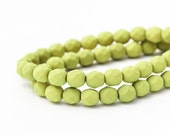 Fire Polished Chartreuse Saturated Matte Round Spacer Beads, Lime Green Opaque Faceted Czech Glass (6mm) x 25