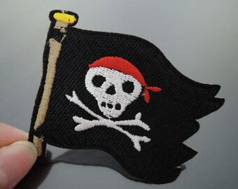 Pirate Patches - Iron on Patches or Sewing on Patch Black Corsair Skull Patches Embroidered Patch Pirate Embellishment