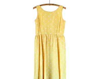 Vintage 1950s Yellow Polka Dot Party Dress - Medium