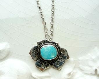 Turquoise Blue Poppy Necklace - Battle Mountain Blue Gem Turquoise, .925 Sterling Silver, Flower, Love Pendant, Rare Gift, OOAK