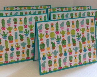 Cactus Notes, Blue Green Note Cards, Cactus Stationery Set, 6 Cards and Envelopes