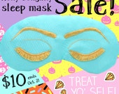 Halloween Sale! Breakfast at Tiffany's Sleep Eye Mask Inspired by Holly Golightly in Robin's Egg Blue and Gold