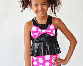 Girls vintage Minnie Mouse inspired Swim Suit