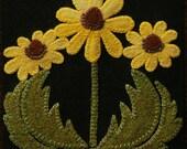 "Wool applique PATTERN &/or KIT ""Black Eyed Susans"" 6x6 block 1 of 24 ""Four Seasons of Flowers"" wool quilt folk art table runner wall hanging"