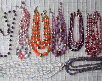 8 Multi Strand Vintage Bead Necklaces to WEAR or CRAFT with Purple & Pink