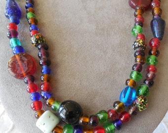 "1960's BOHO Glass Trade Bead Necklace or Belt 40"""