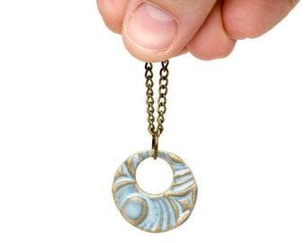 Casual sky blue earthy pottery necklace on brass chain / clay jewelry / casual jewelry / boho jewelry / trendy jewelry