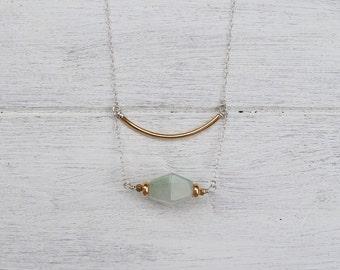 Alga Necklace- Aventurine & Brass on Silver Chain