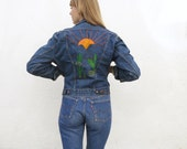 Jean Jacket Embroidered 70s Maverick Blue Bell Sz. S