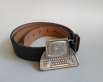 vintage 1981 1980s computer buckle with black leather belt and silver buckle