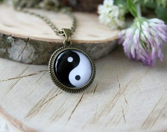 Yin-Yang Symbol Necklace, Antique Bronze Pendant, Glass Cabochon Pendant With Chain