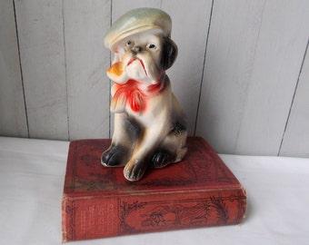 Vintage Chalkware Carnival Prize 1930s English Bulldog