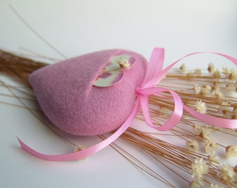 Needle Felted Heart-Pink Heart with Pocket