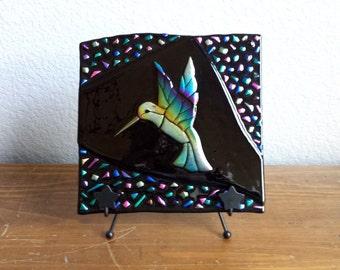 Dichroic Glass Hummingbird Panel - Dichroic Fused Glass - Hummingbird with Confetti Border - Rainbow Colored Hummingbird - Art Glass Panel