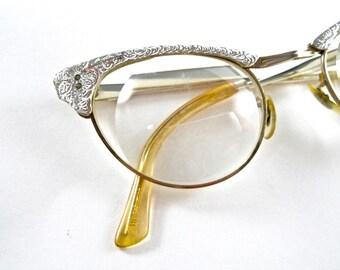 Vintage cat eye glasses. Silver aluminum filigree ornate combo frames. 1950s eyewear size 46-22.