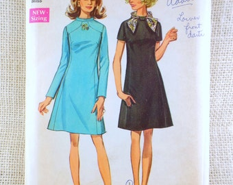 1960s Vintage pattern Simplicity 8461 1960s seam interest dress A LIne Bust 34 Sewing Mod Groovy 1960s figure flattering scarf loop