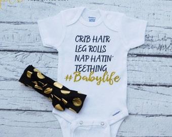 Baby Girl Bodysuit/Glitter Bodysuit/Crib Hair/Baby Girl Shirt/Baby Shirt/Babylife/Black and Gold Glitter