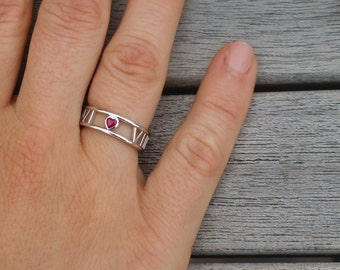 Ruby Heart Roman Numeral Ring in Solid 14k, 18k White Gold and Platinum. Wedding and Anniversaries. Valentine's gift. Personalized Jewelry