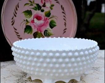 Vintage Fenton Milk Glass Hobnail Bowl / Shabby Chic Milk Glass / Milk Glass Centerpiece / Hobnail Serving Bowl