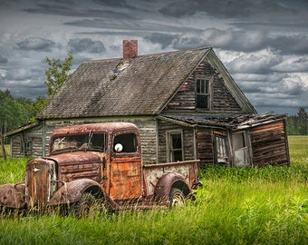 Rusty Pickup Truck and Old Forlorn Abandoned Farm Homestead No.4129 A Fine Art Auto Landscape Photograph