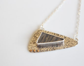 Last Minute Gift Geometric Handmade Necklace Steel Necklace / Rose Gold Accent Jewelry / Metal Stone Pendant / Gift for Wife