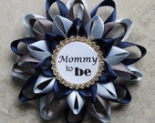 Baby Boy Shower Decorations, Mommy to Be Pin, Navy Blue, Ice Blue, Dark Gray, Gold, Boy Baby Shower Corsages, Grandma to Be, Daddy to Be Pin