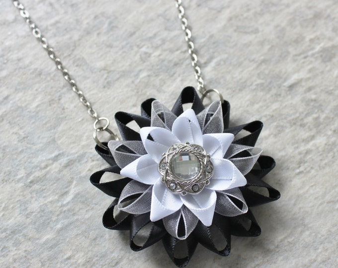 Statement Pendant Necklace, White and Black Flower Pendant Necklaces, Black and White Necklace and Earring Set, Jewelry Gift Set, Handmade