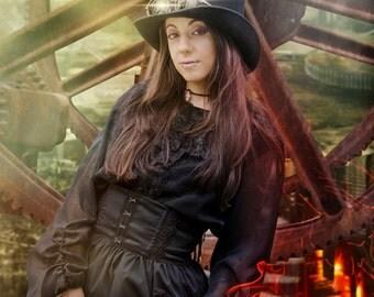 SALE: Gothic Lolita Steampunk Chiffon Shirt