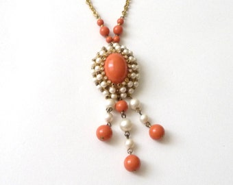 Vintage Faux Coral and Pearl Necklace  Goldtone  1950s 1960s